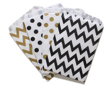 192 Gold and Black Polka Dot Chevron Party Paper Favor Bags, Glam Birthday Party Treat Bags, Graduation Party Favor