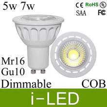 30%off CREE cob chip 5w 7w led spotlight gu10 dimmable led spot light lamp mr16 110-240v 12v  60 angle warm cold white UL CE