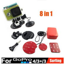 GoPro Accessories Surfing Kit 8 in 1 Mount set Summer Underwater Surfboard Surf Self Stick for Gopro Hero 4 3+ 3 2 1 Xiaomi Yi