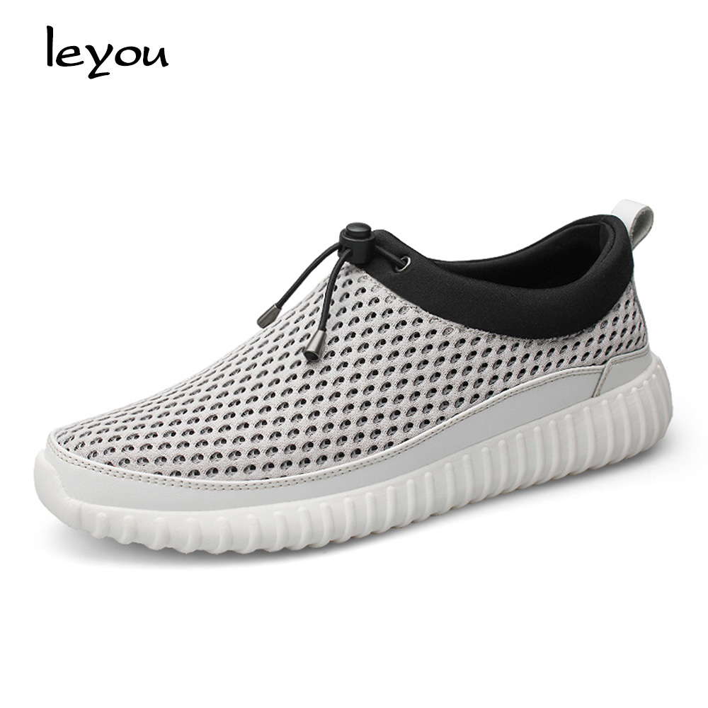 Leyou Men\'s Mesh Slip-ons Loafers Summer Male Snea...