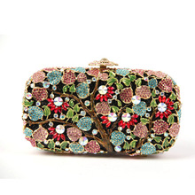 Pillow Shape Pink Clutch Bag on Sale Flower Tree Patterns Crystal Clutch Purse for Women Handmade Cheap Clutches for Bridesmaids(China)