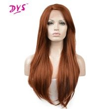 Deyngs Long Brown Color Synthetic Lace Front Wigs For Women Silky Straight Naturally Free Part Wig Fully Hirstyle 180% Density