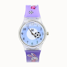 Children Cartoon Watch Plastic Watchband Kids Watches Hello Kitty Mickey cow dog cat Rabbit Animal Print girls Cute Clock(China)