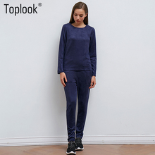 Toplook Zipper Suede Tracksuits Women Suits 2017 New Autumn Winter Blue Two Piece Sets Sweatshirt + Long Pants Casual Suits(China)