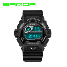 SANDA Men Digital Sports Watches LED Military swim Wristwatches waterproof alarm chronograph rubber strap relogio(China)