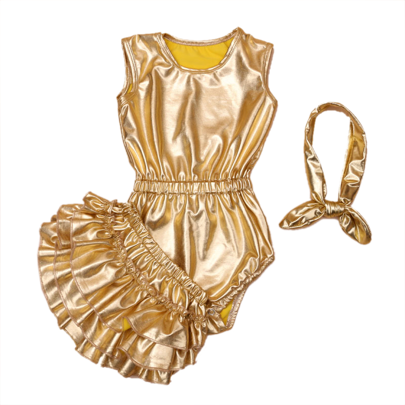 High Quality Girl Soft PU Gold Rompers Sequin Ruffle Shorts Silver Bloomer With Headbands Set Toddler Baby Clothing<br><br>Aliexpress