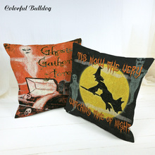 Wholesaler Cushion Cover Halloween Pumpkin Ghost Tombstone Raven Skeleton Coffin 45*45cm Cotton Linen Houseware Party Decorative(China)