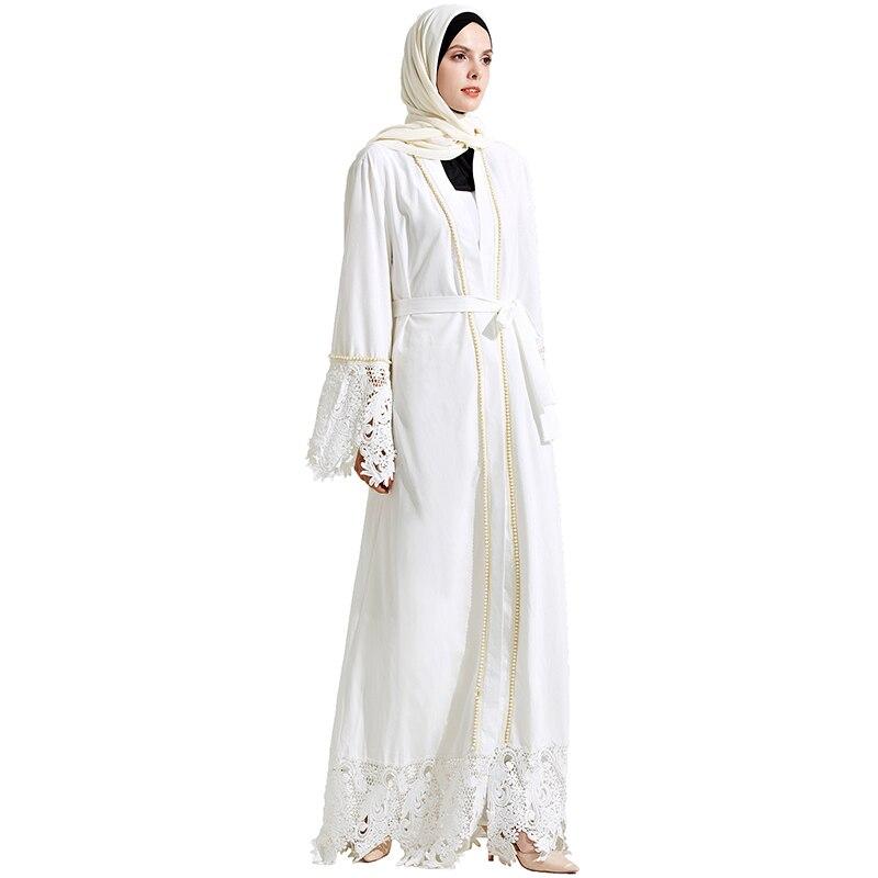 Babalet элегантные скромный мусульманских Islamique Vêtements араб с длинным рукавом полной длины жемчуг Dentelle подол белого Абаи платье с поясом(China)