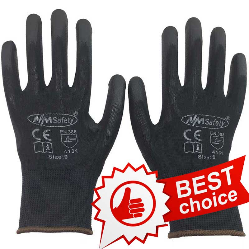 NMSAFETY 3 pairs Lightness comfortable polyester/nylon work gloves cheap PU working safety gloves<br><br>Aliexpress