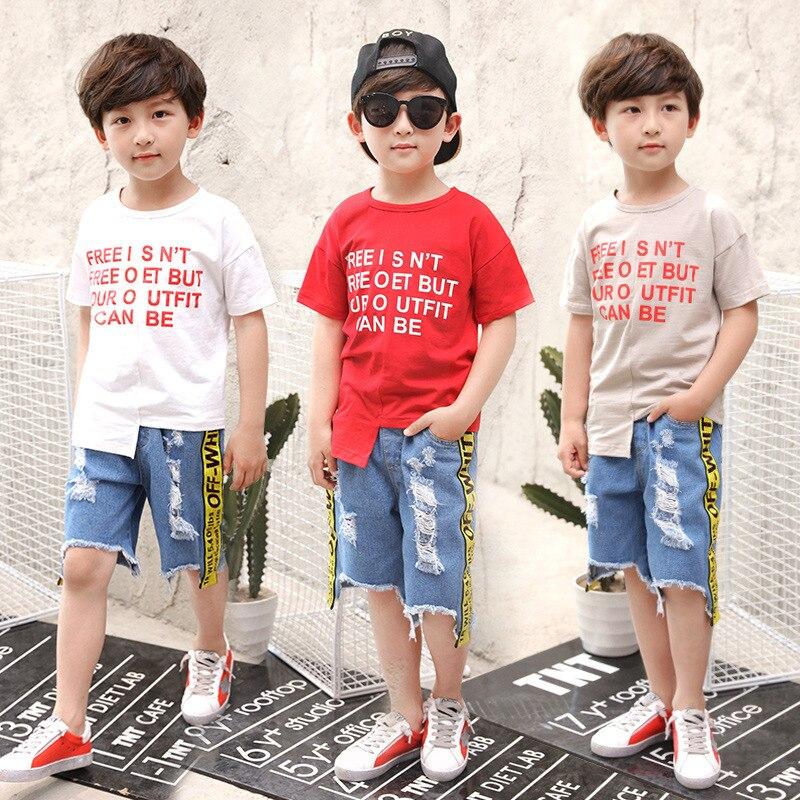 Childrens Garment A Summer Letter Woven Bring Short Sleeve Children Suit Korean Holes Cowboy Catamite Two Pieces Kids Sets<br>