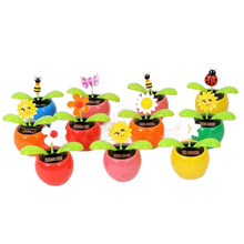 Solar Apple Flower Swing Automatic Swing Sunflowers Car Interior Decorations(China)