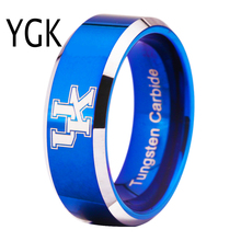 Free Shipping Customs Engraving Ring Hot Sales 8MM Blue With Shiny Edges Kentucky Wildcats Design Tungsten Wedding Ring(China)