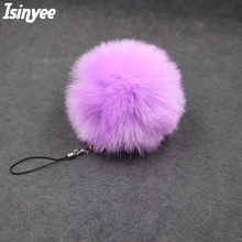 ISINYEE 8cm Fluffy Pom Pom Keychain For Women Bags Mobile Phone Fashion Faux Rabbit Fur Pompom Key Chains Jewelry Accessories