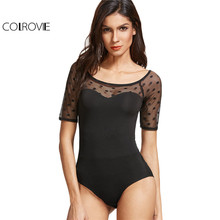 COLROVIE Sexy Dotted Mesh Bodysuit Black Sweetheart Patchwork Skinny Jumpsuit For Women 2017 New Summer Short Sleeve Bodysuit