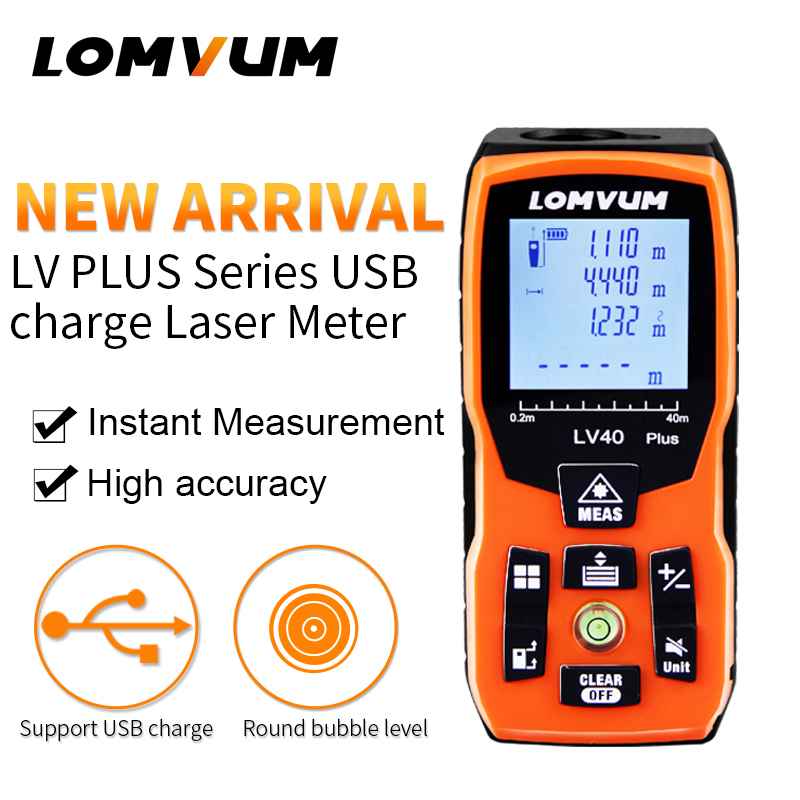 LOMVUM 100m new USB charge bubble Level 40M Laser Rangefinders Digital Laser Distance Meter distance measurer laser tape<br>