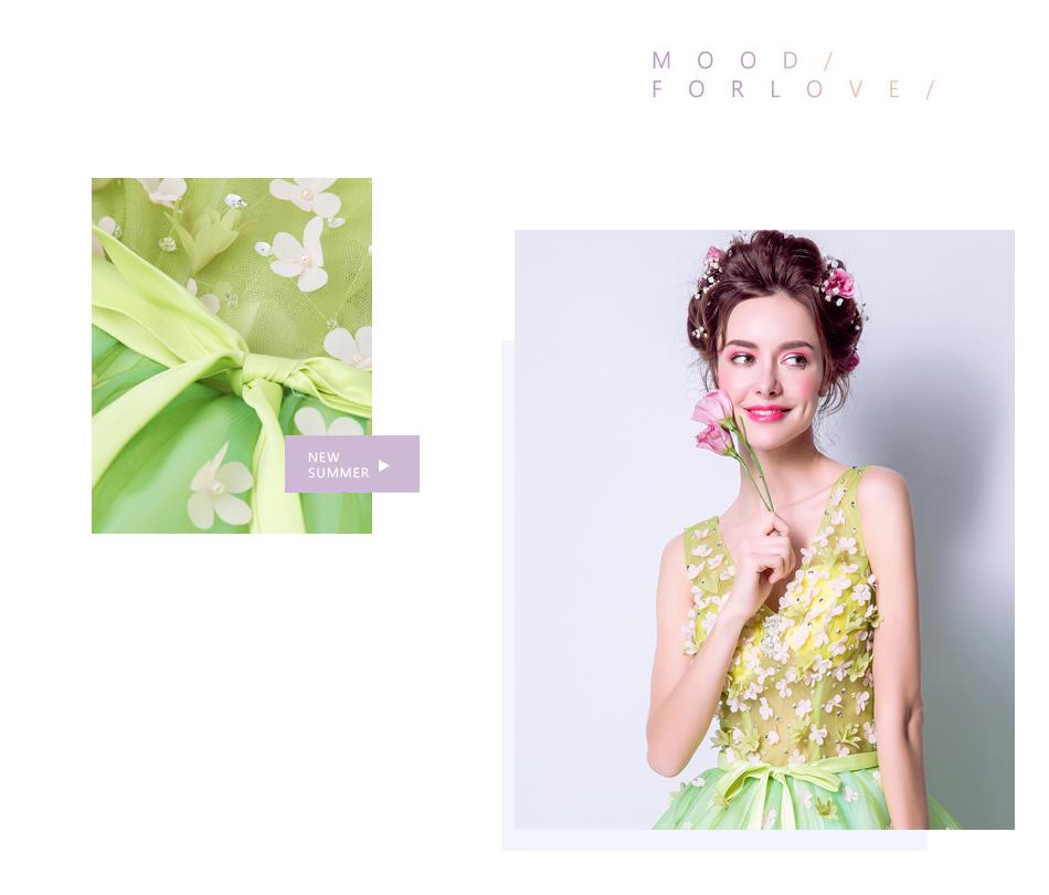 Angel Wedding Dress Marriage Bride Bridal Gown Vestido De Noiva 2017Soft powder, Qingjian Lvxian beauty, petals, green 9718 4