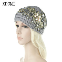 Women Wide Knitting Woolen Headband Winter Warm Ear Crochet Turban Hair Accessories For WomenGirl Rhinestone Hair Band Headwraps(China)