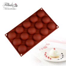 FILBAKE DIY Baking 3D 15 Hole Semicircle Shape Silicone Moulds Chocolate Molds Ice Cream Mold Mousse Cake Decorating Tools(China)