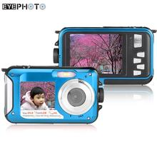 "Double Dual LCD Display Self-portrait Digital Camera 2.7"" Screen HD 24MP 16X 1080P Anti-shake Video Camcorder Waterproof Camera"