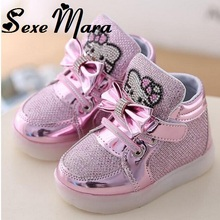2017 New Cheapest Spring Autumn Children's Sneakers Kids Shoes Chaussure Enfant Hello Kitty Girls Shoes With LED Light  21-36