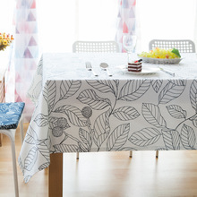 1 pc Simple Leaf Pattern Table Cloth Linen Rectangular Table Cloths Dustproof Table Skirt  Multi-size Available