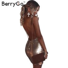 Buy BerryGo Backless deep v neck sequin sexy dress Women black sundress short dress party club strap mini bodycon dress vestidos for $14.16 in AliExpress store