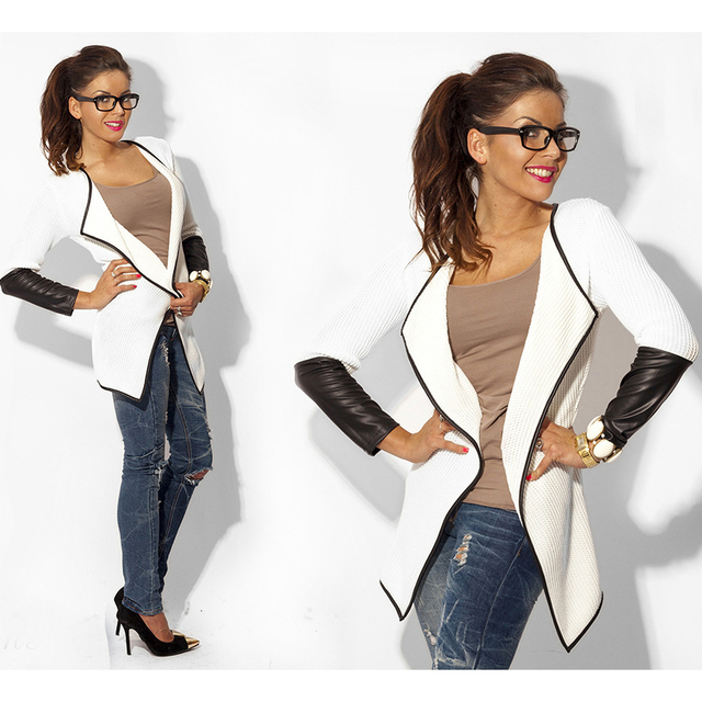 2017 Summer Fashion Long Sleeve Leather Female Blouses Sweater Casual Cardigan Woman Jacket And Coat White