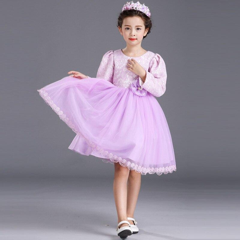 Girls Autumn Winter Princess Costume Wedding Dress Child Kids Clothing Purple Mesh Lace Flower<br>