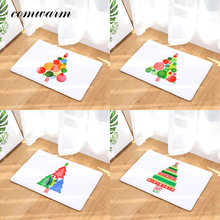 Comwarm Non-slip Water Absorption Christmas Mat Colorful Ball Decor Christmas Tree Flannel  Minimalism Bedroom Kitchen Carpets