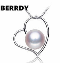 4 color Real Freshwater Pearl Pendant Necklace Nice Quality Exquiste HEART Hot Unique Necklace for Lady Nice Gift(China)