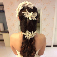 headdress pearl ribbon Short hair wedding hair deserve to act the role of hairpin manufacturers selling wedding dresses(China)