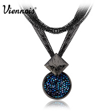 Viennois Gun Plated Long Necklaces of Blue Crystals from Swarovski for Woman Dual Length Luxury Round Necklaces