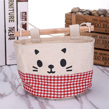 Linen Pockets Wall Pouch Home Cosmetic Hang Bag Toys Creative Storage Bag Wardrobe Cotton Organize