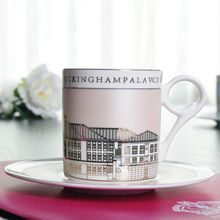200mlml European high-grade bone china coffee mug saucer set Buckingham Palace gold wall color mug Manufacturers wholesale(China)