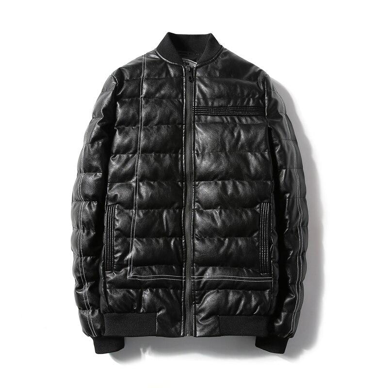 M-5XL 2017 Black White Stand Collar 100% Pu Winter Casual Parka Men Slim Fit Winter Jacket Men Winter Coat Men Parka HommeОдежда и ак�е��уары<br><br><br>Aliexpress