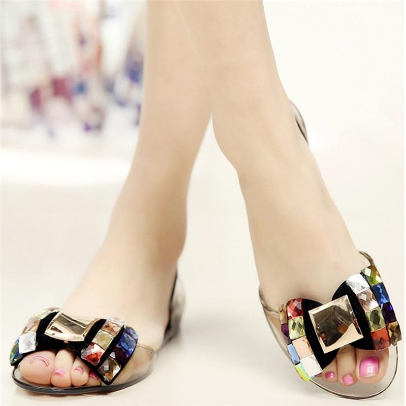 08c360c68134f Sexy Ladies Jelly Shoes Woman Sandals Bowknot Summer Shoes Women Flat  Sandals Transparent Beach Shoes Sandalias ...