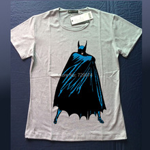 Batman's cape comic cartoon image printing t shirt gray and white