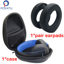 POYATU Headphone Case Bag Box For SONY Gold Wireless Headset PS3 PS4 7.1 Virtual Surround Sound Replacement Ear Pads Cushion