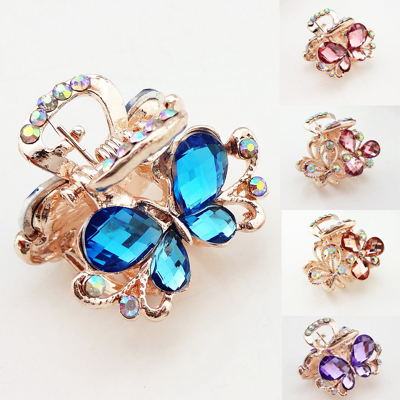 Hot Sale Women Elegant Chic Bling Rhinestone Hair Claw Butterfly Hair Jewelry Hair Ornament(China)