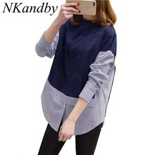 Nkandby 5XL 4XL 3XL Plus size Women Tops Loose Stand Collar Long sleeve Striped Patchwork Navy Zipper Big size Shirts Blouses
