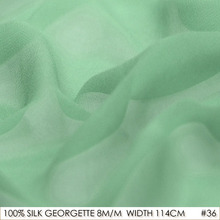 SILK GEORGETTE 114cm width 8momme/100% Natural Pure Silk Chiffon Brocade Wedding Dress Fabric Supplier Lake Green NO 36