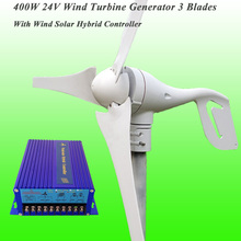 Hot Selling 3 Blades 400W 24V Home Use Residential Wind Turbine Generator & Perfect Cost-effective  Wind Solar Hybrid Controller
