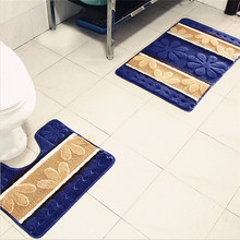 Advanced Vogue Bath Pedestal Mat 2 Piece Non Slip Toilet Set Machine Washable Squares Soft Bathroom Tools for Home