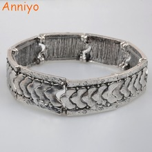 Anniyo About 6CM Elastic Bangle for Women's Arab Jewelry Ethiopian Vintage Flexible Bracelet African Party Gifts #074806(China)
