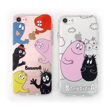 3D Shockproof Soft TPU Phone Case for iPhone 7 Transparent Cartoon Barbapapa Phone Cases Cover for iphone 7 6 6s Plus(China)