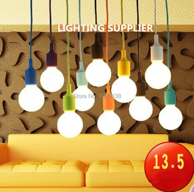 5pcs E27 Socket Lamp Chandelier Light Hanging Silicone Diy Colorful Silicon Dining Pendant Suspended