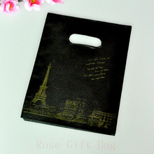 15*20CM 100pcs Eiffel Tower Design Black plastic gift bag favor jewelry boutique gifts packaging bag cute plastic bags handbags
