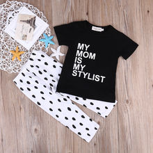 2017 Fashion Cute Newborn Baby Girls Outfits Black Print My mom is my Stylish Tops+Dots Trousers 2pcs Outfits Clothes Baby Set 1(China)