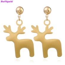 New Simple Casual Ear Big Long Cute Sheep Earrings for Women Gold Personality Animal Earrings Studs Boho Punk Jewelry Duftgold(China)