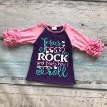spring summer baby girls outfits Jesus rock kids wear shirts raglans top boutique outfits cotton clothing half sleeve ruffles